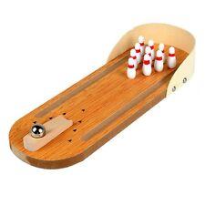 Mini Desktop Bowling Game Set Wooden Bowling Alley Ten Metal Pin Ball Desk ED