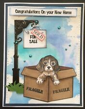 New Home - Puppy in box - Handmade card - BY DEE-