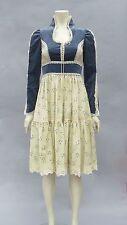 New listing Vintage 80s Gunne Sax Dress Blue Velvet Boho Corset Lace Up Floral S