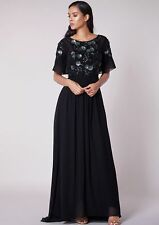 Virgos Lounge Briley Black Embellished Wedding Cocktail Party Maxi Dress 4 TO 16