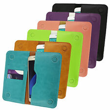 PU Leather Magnetic Slim Wallet Case Cover Sleeve Holder fits Sharp phones