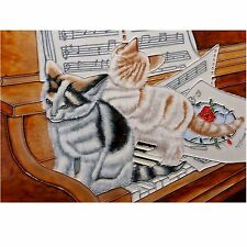 Benaya Piano and Kittens Rectangular Tile known as Off Note BAC132058