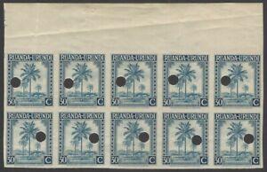 Ruanda Urundi 1942 30c Palm Tree imperf proof block of 10 MNH