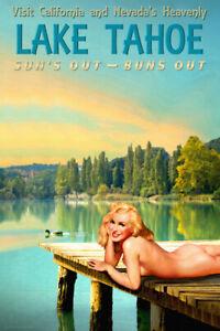 Lake Tahoe California Nevada Marilyn Monroe Duck Dock PinUp Poster Art Print 293