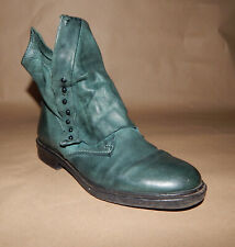 AS 98 AIR STEP Ankle Boots, Green Leather, Women, 7.5US/ 38 EU/ 5UK