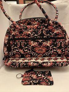 LEMON HILL 2 piece quilted floral black & burgundy handbag purse travel