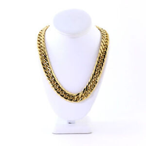 SOLID 14K YELLOW GOLD FINISH HEAVY MIAMI CUBAN TIGHT LINK CHOKER CHAIN 18MM 20''