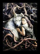 Kleine Leinwand mit Wolf - Anne Stokes Soul Bond - Bild Kunstdruck Fantasy