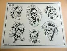 Vintage 1985 RARE Spaulding & Rogers Tattoo Flash Sheet #226T Grim Reaper Devil
