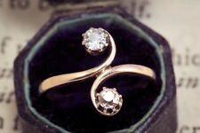 ANTIQUE GOLD ME & THEE BELLE EPOQUE WHITE & CHAMPAGNE 0.27ct DIAMOND RING c1935