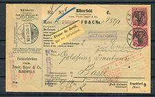Auslandspaketkarte DR 80 Pfg. Germania MeF Elberfeld-Basel - b4147