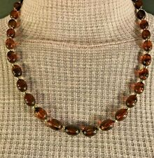 Vintage Necklace Translucent Amber Oval Beads Gold Spacers Hidden Clasp Classy