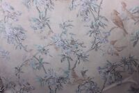 Antique French (1870) Faded Bird & Roses Chateau Curtain Panel Fabric