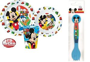 Mickey Mouse Boys Girls 5 Piece Plate Bowl Cup Spoon Fork Dinner Breakfast Set