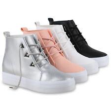 Damen Sneakers Keilabsatz Plateau Sneaker-Wedges Sportschuhe 814708 Schuhe