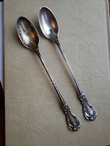 """(2) REED & BARTON """"Burgundy"""" Sterling Iced Tea Spoons 7 5/8""""  No Monos, Old Mark"""