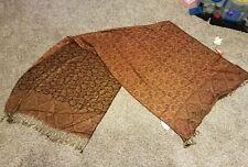 "Kashmiri Mumtaz shawl, India, HB products, 30""x80"". orange/black/gold, NWT"