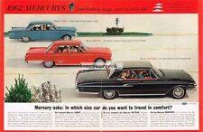 1962 MERCURY Black Monterey, Red Meteor, Blue Comet Centerfold Vtg Print Ad