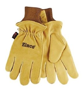 KINCO 94HK Mens Lined Grain Suede Pigskin Gloves, Heat Keep Lining, Golden