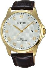 PULSAR PS9446X1 Brown Leather Strap Roman Numerals Date 50M WR 2Yr Gr RRP £69.95