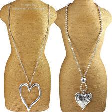 Dos grandes Grueso Colgante de Corazón de Plata Moda Collar Largo diseños de joyería