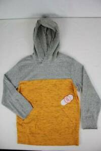 NEW Boys Hooded Pullover Top Small Size 6 - 7 Yellow Grey Jersey Hoodie Pocket