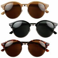 a299ac51344 ShadyVEU - Round POLARIZED Retro 80 s Vintage Semi Horn Rimmed Sunglasses
