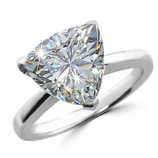Huge 3.50ct Trillion Cut Solitaire Diamond 14K White Gold Over Engagement Ring