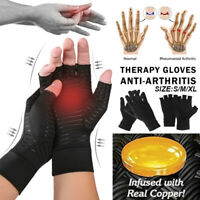 1 Pair Compression Gloves Anti-Arthritis Copper Therapy Grippers Hand Support-