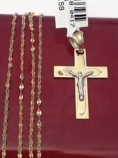 10k Yellow White Gold Religious Jesus SMall Pendant Singapore chain 18 INcH Mens