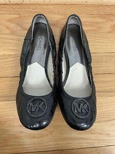 Michael Kors Logo Toe Leather Ballet Black Snakeskin Size 9