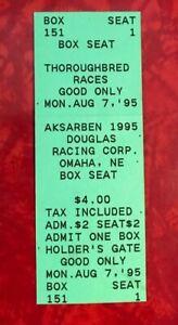 1995  AKSARBEN THOROUGHBRED HORSE RACING BOX SEAT TICKET