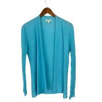 Eileen Fisher Open Front Cardigan Sweater Blue Linen Long Sleeve Womens Sz XS