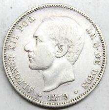 ESPAÑA ALFONSO XII 1879 *18-79 EMM 2 PESETAS MONEDA PLATA MBC+
