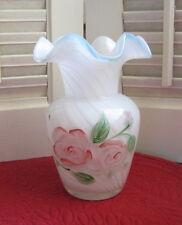 "Handpainted Art Glass Pink Roses on Aqua Crest Opalescent Swirl Crimped Vase 6"""