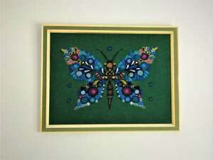Large MCM Scandinavian Butterfly Tapestry Mid Century 1950s - 1960s Framed