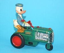 DISNEY FRICTION TOY DONALD DUCK ON TRACTOR 1960s MARX HTF