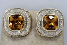 14K White Gold LARGE *10 Carat CITRINE & 1 Ct. DIAMOND* DESIGNER Style Earrings