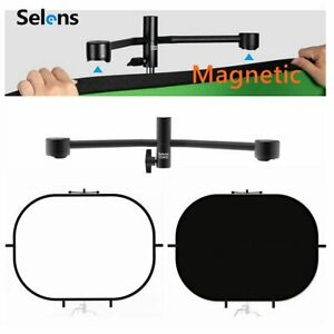 Selens Oval Foldable Studio Backdrop + Magnetic Tools Hung in Stands photography