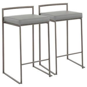 OPEN BOX Fuji Industrial Counter Stools in Antique & Grey Faux Leather Set of 2