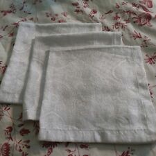 Three White Dinner Napkins by Waterford Linens, Cotton/Poly, Mitred Hems, 20""