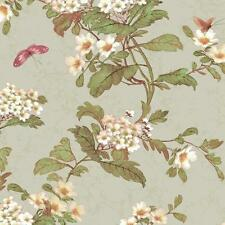 Wallpaper Designer Silver Gray Background with Watercolor Floral and Butterflies