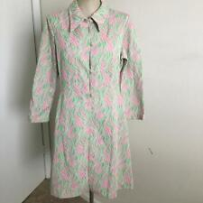 Vintage 1970's Pink-Green-White Double Knit Graphic Print Jacket Duster M