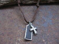 Herren Halskette braun Kreuz Leder Schmuck Surferkette Kette Kreuzkette