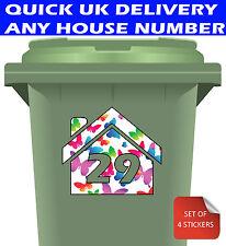 Wheelie Bin Numbers Stickers Custom Street Number 4 Pack Vinyl Decal Butterflies