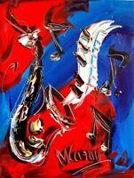SAXOPHONE  JAZZ MUSIC  IMPRESSIONIST IMPASTO ARTIST  Original Oil Painting