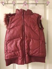 Alpha Industries Kids Burgundy/Silver Reversible Puffy Vest W/Fur Hooded 6/7