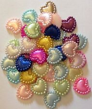 Satin Pearl Heart Resin Flatback Embellishments for Card Making etc. 100pcs