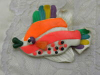 Vintage Fish Pin Brooch Tropical Ocean Figural Plastic Colorful Whimsical Fun