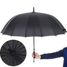 Unisex Large Golf Shield Umbrella Windproof Canopy Rain Sun Strong Wind  Black